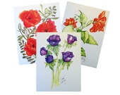 Floral Cards, Set of 3, Prints from Original Watercolors, with Envelopes and Protective Sleeves