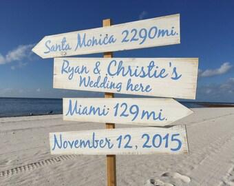 Beach Direction Sign, Nauitcal Wedding Decor Wedding Gift Idea, Beach Wedding decor