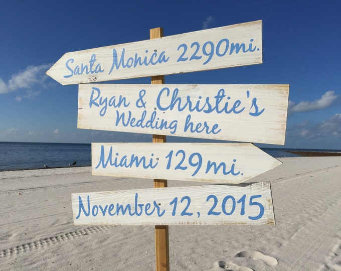 Beach Direction Sign, Nauitcal Wedding Decor Wedding Gift Idea, Beach Wedding decor