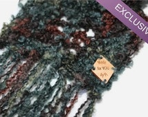 Luxury scarf, Boho scarf, Boho Fringed scarf, Very Long scarf, Mohair scarf, Merino scarf, Teal burgundy, Blue Scarf, Gift for Her, SF06FI