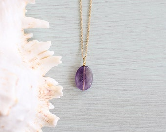 Oval amethyst necklace - Real natural amethyst necklace - Small faceted oval purple amethyst crystal necklace - February birthstone necklace