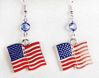 Earrings, red white and blue, Memorial Day, Flag Day, Independence Day, 4th of July, enameled earring, flag charm, flag earrings