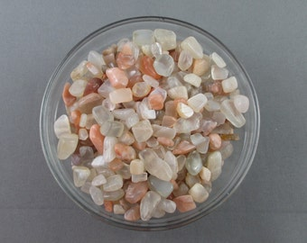 Moonstone Chips 1/4lb Undrilled - Polished Stone Chips, Chakra Stones, Craft Supply, Peach Moonstone, Reiki Healing Crystals (T265)