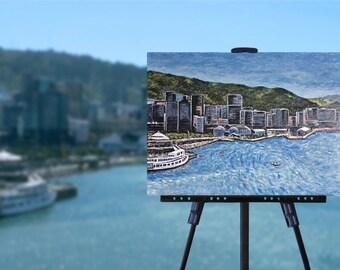 City Harbour Painting, Wellington New Zealand, sailing art, boats, original contemporary art, 18 x 24 canvas, wall art, free shipping