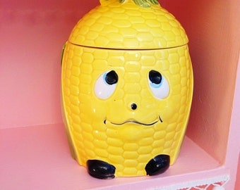 Super cute corn cob Japan cookie jar