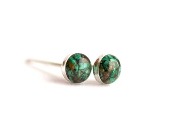 4mm Green Chrysocolla Earrings. Chrysocolla Earrings. Chrysocolla Studs. Chrysocolla Stud Earrings. Studs. Stud Earrings. Green earrings.