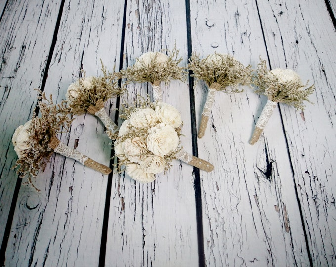 Bridal flowers package MEDIUM bridal 5 small bridesmaids BOUQUETS Ivory cream rustic wedding dried limonium Burlap lace Flower girl toss
