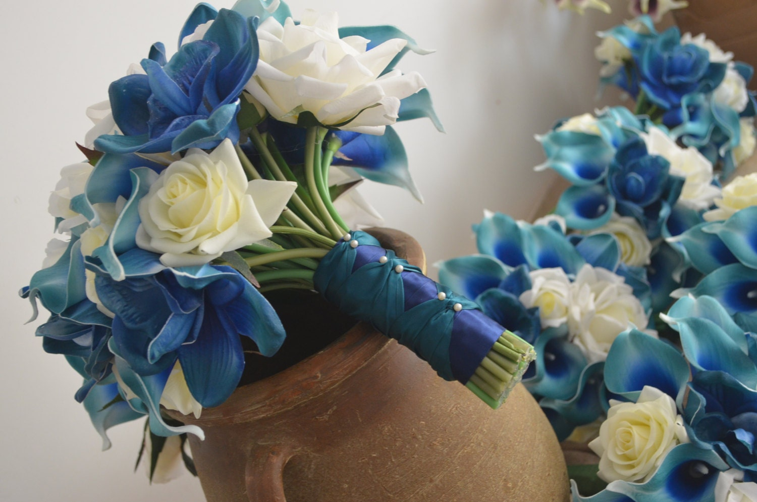 Cascading Bridal Bouquet Real Touch Flowers Teal Royal Blue