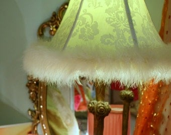 Custom Made Lamp Shade, Six Panel, Green Silk and White Burnout Velvet, From Jane Hall Design