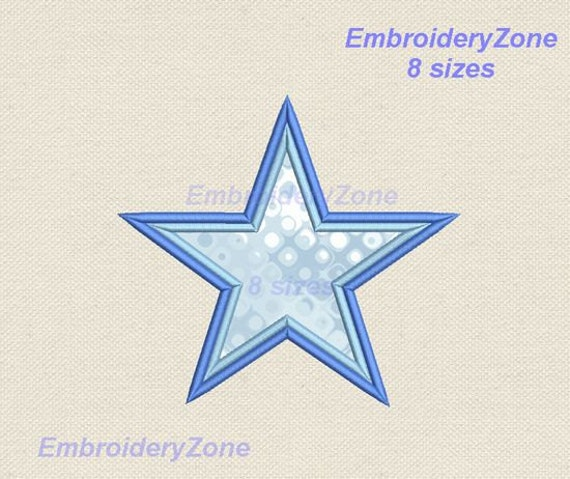 Basic five pointed star embroidery design applique instant