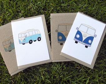 Kombi Van Greeting Card  - Blank Inside with Recycled Brown Envelope