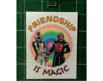 "Kamen Rider 3x4"" Laminated Badge, Kamen Rider Fourze And Kamen Rider Wizard"