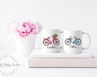 Personalized Couple Mugs | Bike Riding Couple Gift | Matching Coffee Mugs | Wedding Gift Mug | Mr & Mrs Mugs | Custom Name Mug | Under 50
