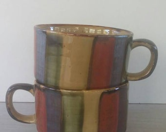 Vintage Soup Cups Bowls Metallic Stripes