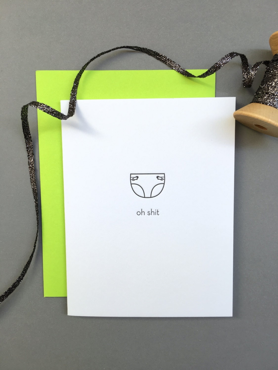 funny baby  oh shit diaper letterpress card