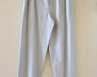 VINTAGE BOGNER Wide Leg Cotton Pants, White and Blue Stripes, Size 12 Trousers