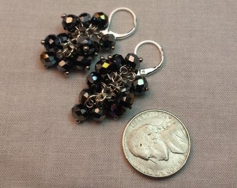 Black Iridescent Cluster Earrings