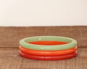 Set of 3 bangles - French vintage - French bracelets -