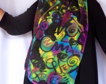 Silk Scarf, Crepe De Chine Silk, 13 Inches by 57, Accessories, Scarves and Shawls, Hand Painted Silk, Multicolor Silk, Abstract Design
