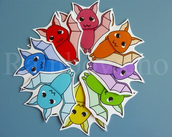 "8 stickers ""Rainbow bat"""