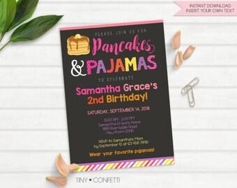 pancake and pajama party, pancakes and pajamas invitation, pancake invitation, pancakes and pajamas party, pancakes and pajamas birthday