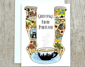 Greetings From Portland Card, Portland Oregon Greeting Card by Little Truths Studio