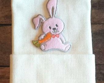 Bunny Newborn Hospital Hat - Newborn Bunny Hat - Pink Bunny Hat - Newborn Hospital Hat - Baby Hat - Bunny Baby Hat - Hospital Hat - Bunny