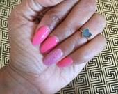 Druzy hart midi Ring, 14k Gold Stone Ring, Stone Ring, Mini hart Ring