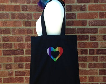 Rainbow Heart tote bag, Embroidered tote bag, Rainbow lovers gift. Funky Eco shopping bag.