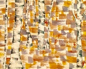 Original watercolor painting, Abstract aspen tree forest, Western Colorado Art, Modern Fine Art, Wall Art, Framed Watercolour, Gold Tan Art