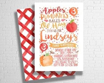 Fall Birthday Invitation | Apple Birthday | Pumpkin Birthday | Fall Colors Invitation | Little Pumpkin | Fall Farm |  DIGITAL FILE ONLY
