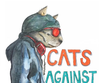 Cats Against Catcalls stickers (2 per order) - Illustrated stickers to fight street harassment. Feminist art, cat hoodie, cat headphones