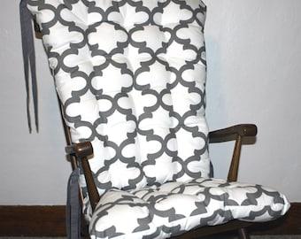 Custom Fynn Quatrefoil Rocking Chair Cushions, Rocking Chair Pads