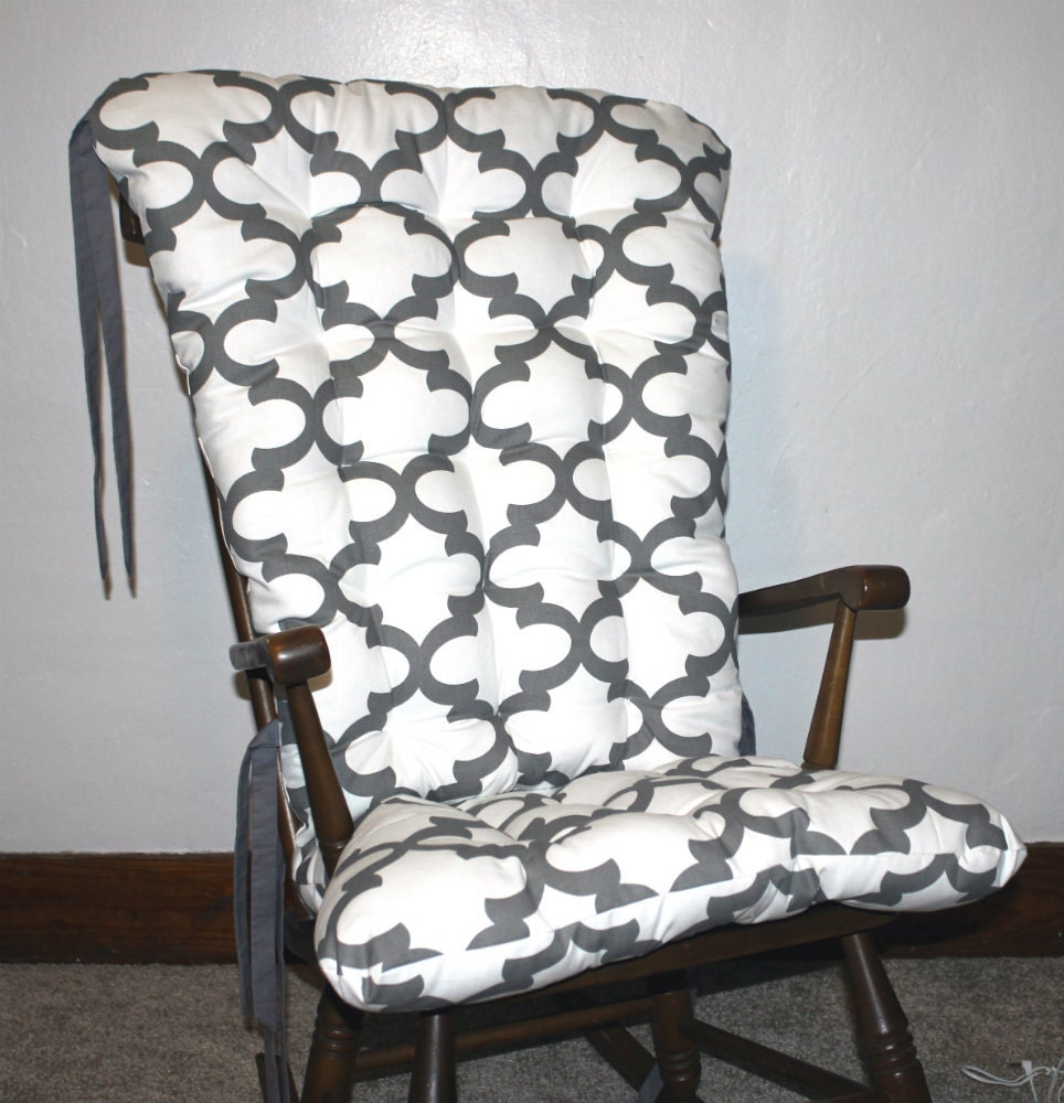 Custom fynn quatrefoil rocking chair cushions