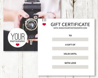 5x5 Gift Certificate Photography - Gift Certificate Template - Gift Certificate Design - Photoshop Template - SF008 - INSTANT DOWNLOAD