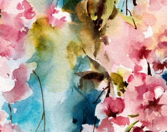 Blooming Branch Wall Art Print, Watercolor Painting, Pink Blossoms Painting, Home Decor