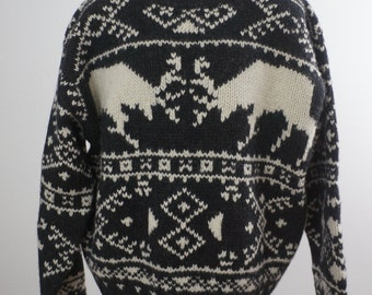 American Eagle Outfitters Handknit Deer Sweater Men's Size Large 100% Wool