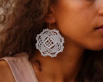 Silver Mandala Crochet Earrings, Silver Crochet Earrings, Boho Earrings, Mandala Earrings
