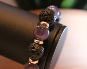 Amethyst and Lava Stone Bracelet - Shipping Included