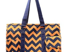 Chevron Print Large Size Utility Tote Bag Navy Blue and Orange