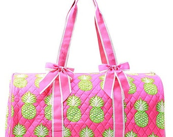 Pineapple Print Monogrammed Quilted Duffle Bag Pink Trim
