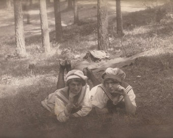 1920s Porn 1920s Outdoor Portrait Couple of Ladies in Sailor Costumes Fancy Forest Picnic Rare RPPC Lesbian Interest