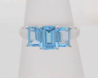 Ladies Emerald Cut Blue Topaz 10K White Gold