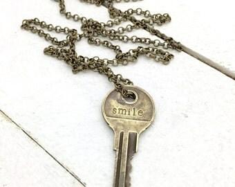 Key, Key Necklace, Key Pendant, One Word, Key Jewelry
