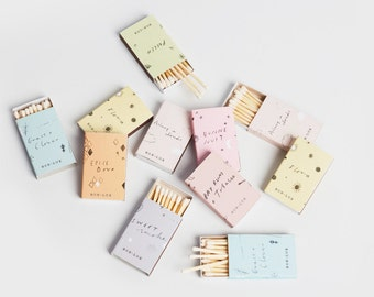 match box - BON LUX pastel illustrated match box contains white tipped matches, pair with votive candle, cute gift, stocking stuffer