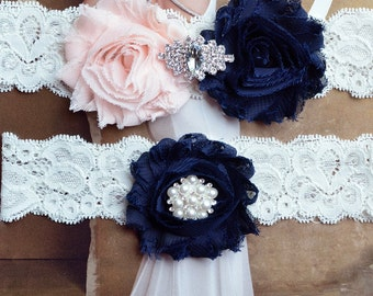 Wedding Garter Set, Ivory Lace Wedding Garter, Garter Set, Light Pink and Navy  Garter, Bridal Garter, Vintage Garter Belt, Something Blue