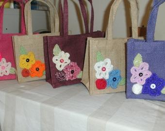 Flowery Medium Jute gift bags