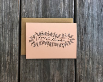 Love and Thanks Card Set, Rustic Thank You Cards, Wedding Thank You Cards