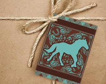 8 Western Gift Tags, Horse Handmade Thank You Tags, 2.5 x 3.5 Hang Tag, Product Tag, Southwestern Style With Twine