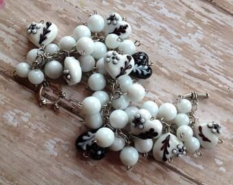 Black and White Heart Glass Lampwork Bracelet, Lampwork Bracelet, Beaded Bracelet, Beadwork Bracelet, Gift For Her